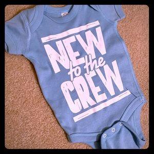 """New to the Crew"" Onesie One piece Snap newborn"